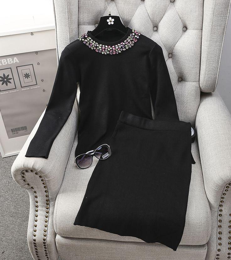 Vrouwen Winter Elegante Diamanten Kraag Breien Rokken en Trui 2 stks Past OL Casual Potlood Rokken Truien Knit Blouses Suits