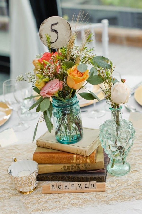 Vintage wedding table decor. Photo by Rachel Peters.