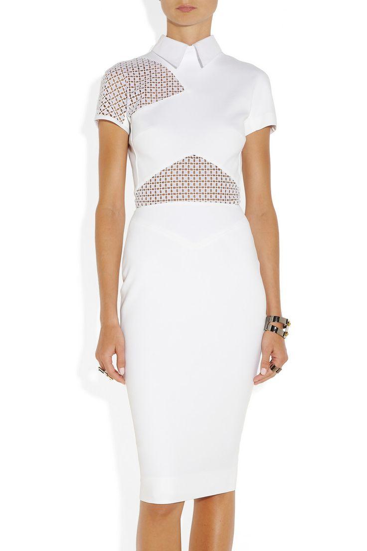 Victoria Beckham|Lace-trimmed stretch-cotton dress