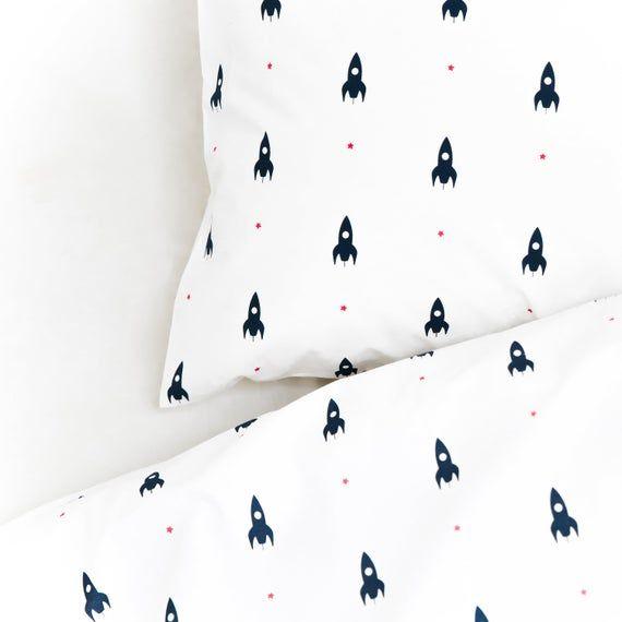 Mini Rocket Cot Bed Duvet Cover Etsy In 2020 Rocket Bed Cot Bed Duvet Cover Kids Bed Linen