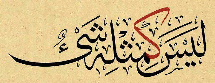 """ليس كمثله شيء"",Laysa kamithlihi shay' Nothing resembles Allaah in anyway whatsoever."