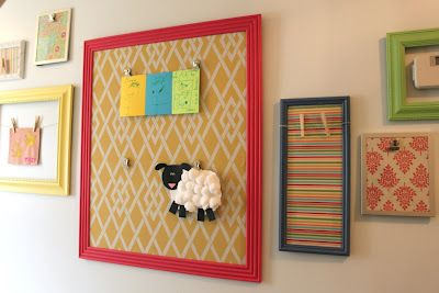 kids art wall to brighten our dreary hallway. these are just old frames with a fresh coat of paint.  i love these happy colors!: Kids Wall Art, Organizations Kids, Kids Stuff, Kids Art Wall, Boys Rooms, Kids Art Display, Happy Colors, Create Studios, Kids Rooms