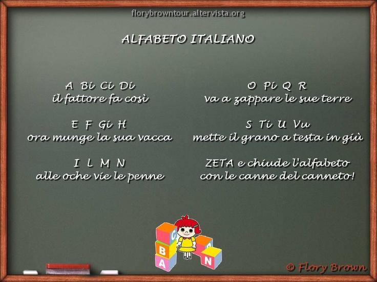 """Le Filastrocche - Per imparare l'alfabeto i bimbi si possono divertive con questa mia filastrocca """"Alfabeto Italiano""""."""
