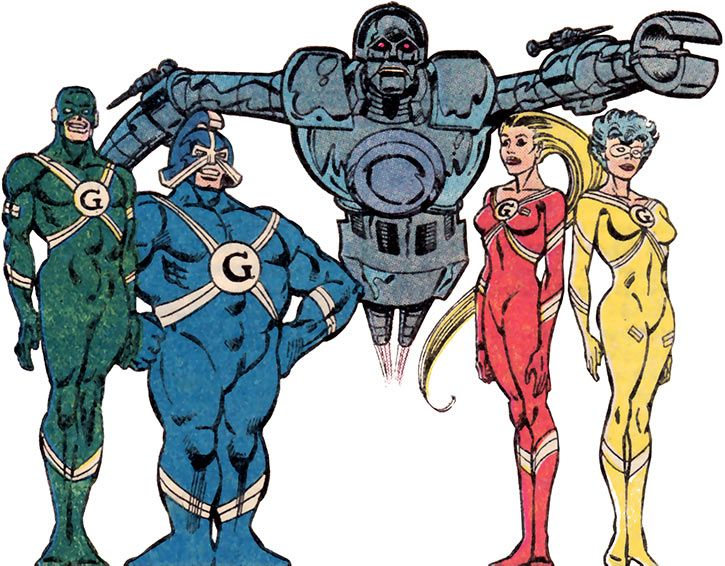 The Gang - DC Comics - with Matrix Prime - Supergirl enemies. From http://www.writeups.org/brains-supergirl-gang-dc-comics/