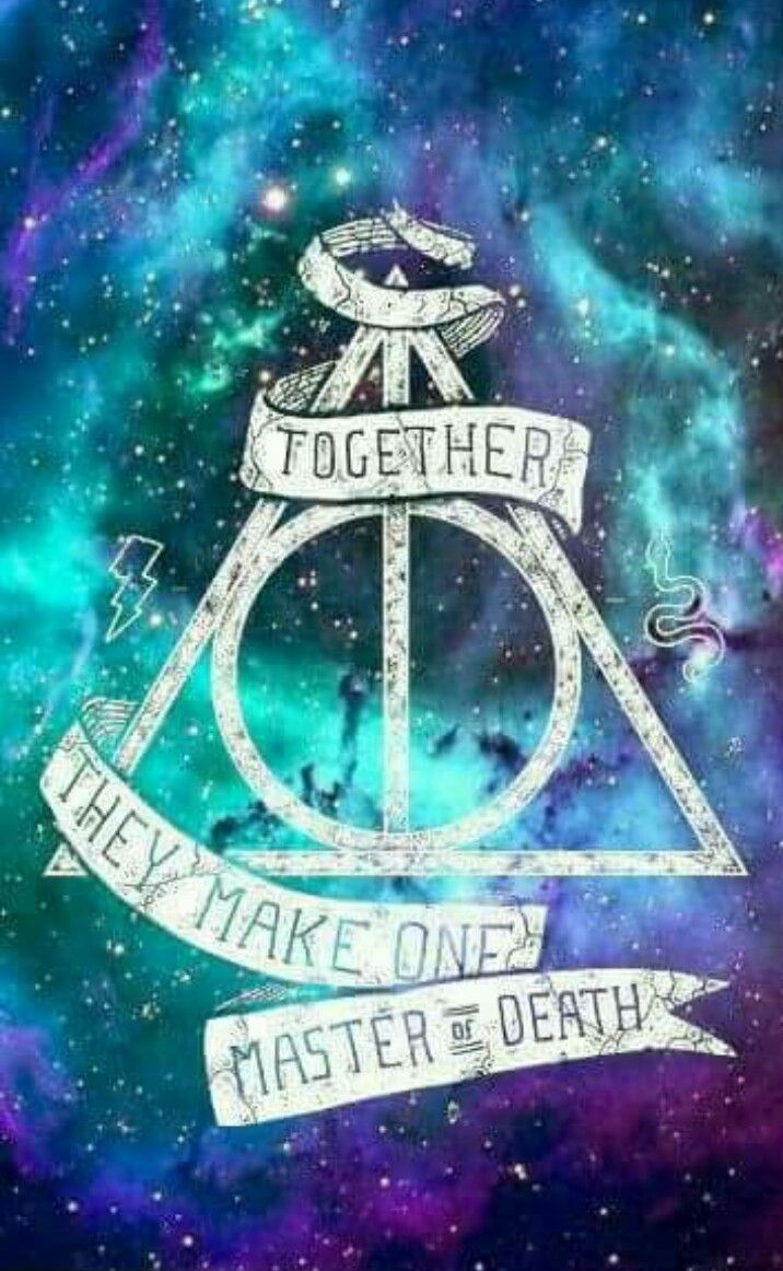 Together, the Deathly Hallows make one Master Of Death. From Harry Potter.