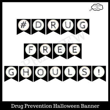 Drug Prevention Halloween Door Decor Kit for Red Ribbon