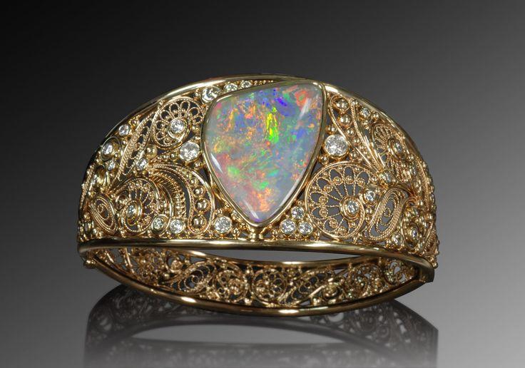 14K Gold and diamonds opal bracelet by SimplyUniqueJD on Etsy, $21,000.00