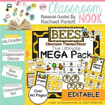 Busy Bee Themed Classroom Decor MEGA PACK