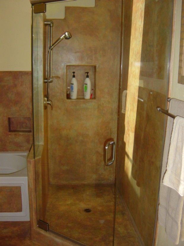 164 best corner shower for small bathroom images on for Concrete bathroom ideas