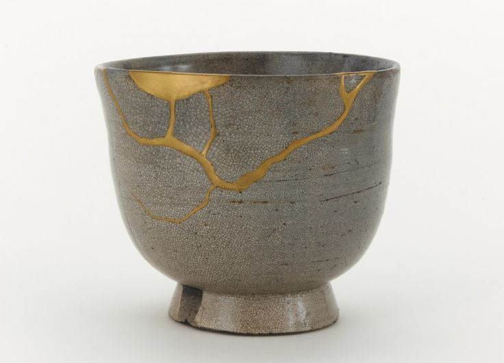 """""""When I look at the bowl, I don't see damage. The break and repair have made it more beautiful. It looks to me like an artist has riffed on a Japanese poem of a moon entangled in the branches of a tree, and etched it onto the bowl.""""  Howard Kaplan, Freer Gallery on        Tea bowl, possibly Satsuma ware; possibly Kagoshima prefecture, Japan, Edo period, 17th century; stoneware with clear, crackled glaze, stained by ink; gold lacquer repairs; Gift of Charles Lang Freer"""