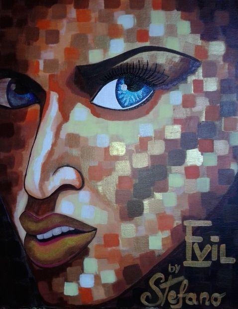 Evil by STEFANO acrylic on canvas(50x60cm) fashion art 2014 portait,paint,painting,painter,modernpainting,art,fashionart,fashion,acrylic,fineart,fashionart