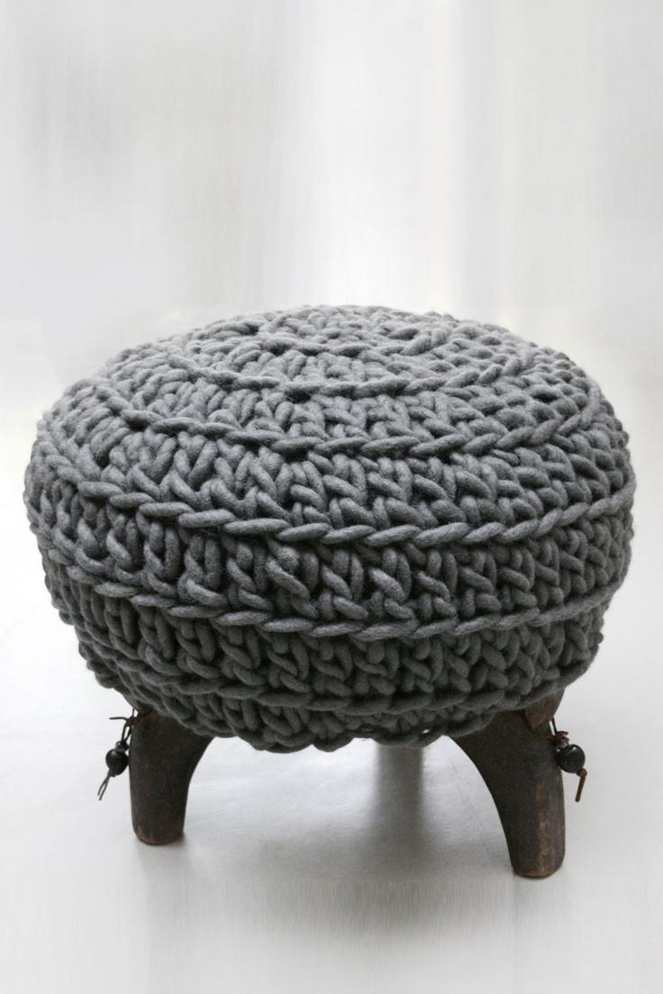 17 best images about crochet cushions foot stools pillows poufs on pinterest floor cushions - Crochet pouf ottoman pattern free ...