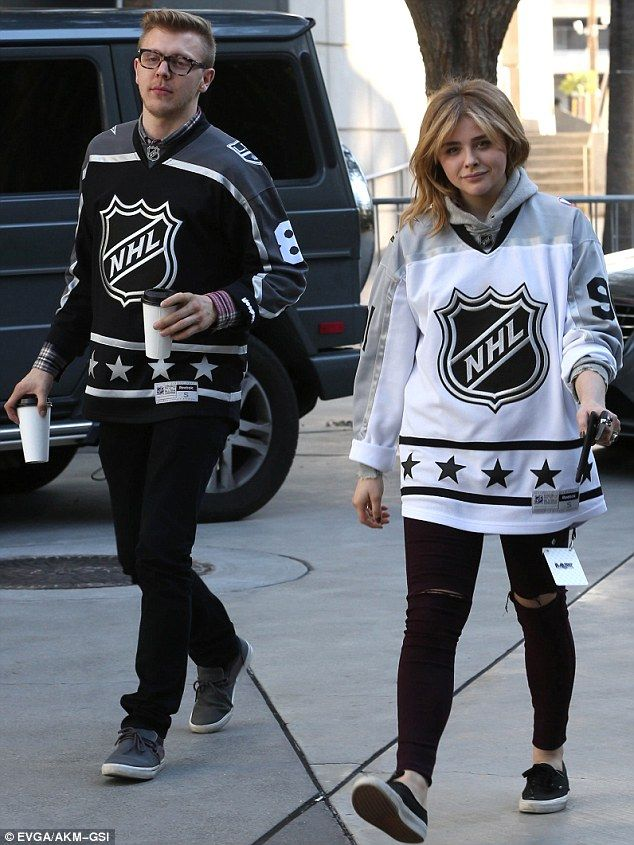 Dressed to impress: Chloe and her brother Colin were wearing NHL shirts...