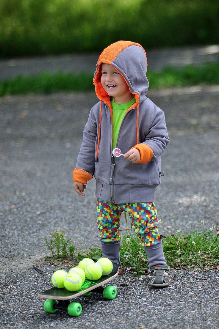 Boy Girl Jacket PUNK Orange - Double sided Hoodie/Jacket/Coat Sweatshirt, Furry/Minky Fur, Winter/Autumn, Organic Kids/Toddler Clothes by LoffLoff on Etsy