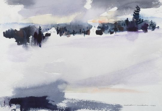 Nandor Mikola(Finnish 1911-2006)  Winter Landscape   1983   watercolour