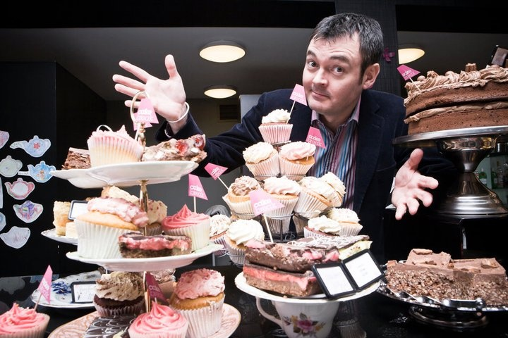 TV & Radio presenter Grant Stott at Loopy Lorna's Tea House, Edinburgh, promoting our Cake Break event. How good do the cakes look?!
