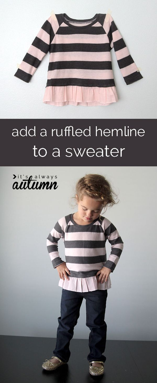 Update a kid's sweater with this lovely ruffled hem tutorial from It's Always Autumn. It's a lovely touch for anyone who loves incorporating a little feminine flair into their wardrobe.