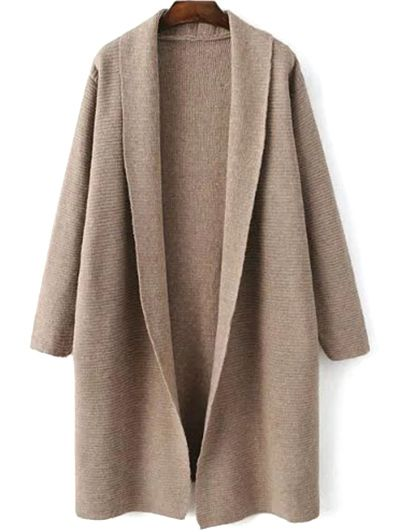 Loose Fitting Turn-Down Collar Long Sleeve Cardigan