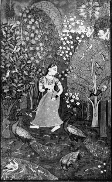 The woman with flowers. Miniature. 18 century.