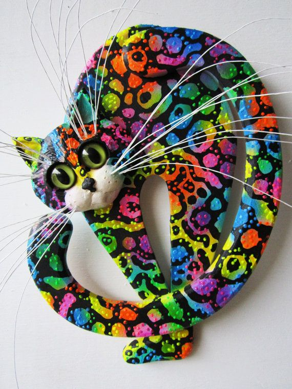 Wood sculpture whimsical cat by artistJP on Etsy, $39.00