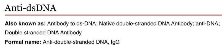 Anti-dsDNA. The anti-double stranded DNA (anti-dsDNA) test is used to help diagnose lupus (systemic lupus erythematosus, SLE) in a person who has a positive result on a test for antinuclear antibody (ANA) and has clinical signs and symptoms that suggest lupus.