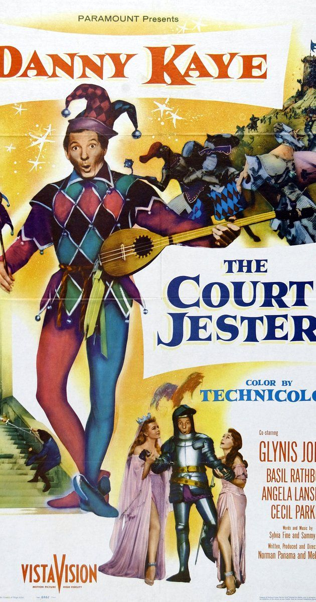 Directed by Melvin Frank, Norman Panama.  With Danny Kaye, Glynis Johns, Basil Rathbone, Angela Lansbury. A hapless carnival performer masquerades as the court jester as part of a plot against an evil ruler who has overthrown the rightful king.