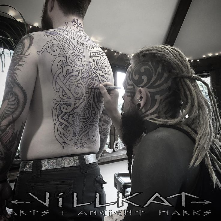 Sneak peak at Nordic inspired back we're about to start ;)....#nordic #norse #viking #vikingart #knotworktattoo #nordicknotwork #celticknotwork #dotwork #dotworkers #paganart #theoldways #thorshammer #mjolnir #vegvisir #vikingcompass #valknut #runes #futhark #futharkrunes #vikingsunite