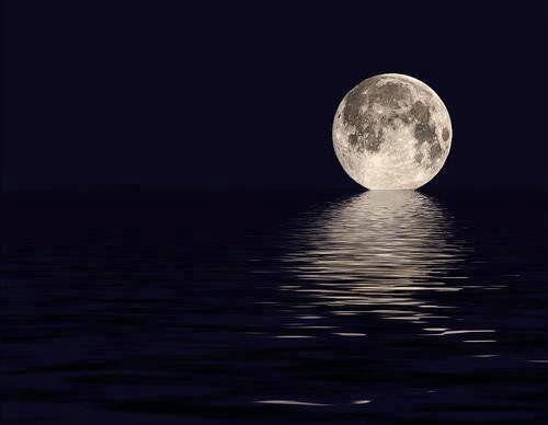 The moon kissing the ocean.