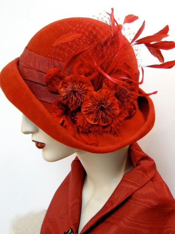 Cardinal Red Cloche with Flowers and Feathers