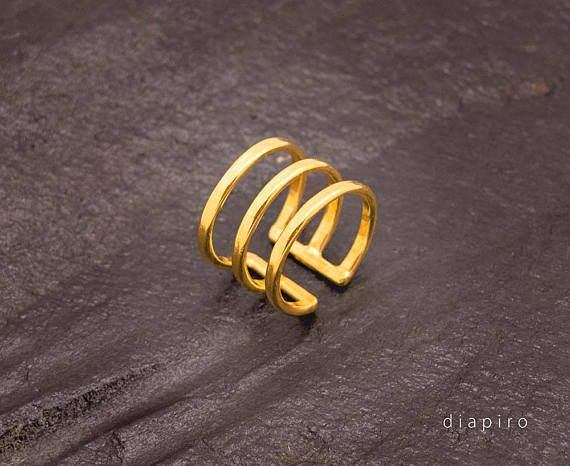 Silver Ring Goldplated Adjustable size Everyday Ring