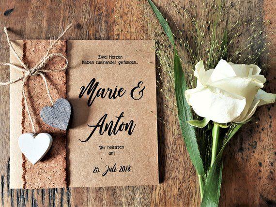 INVITACIÓN DE LA BODA Vintage – Invitación de la boda | Tarjeta de invitación | Tarjetas de boda | Desfile de bodas | Boho | Papel Kraft | Corcho LH