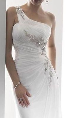 Details about Stock New White/Ivory satin Wedding dress Bridal gown Size 6 8 10 12 14 16 18