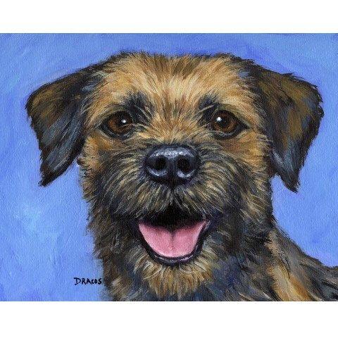 Border Terriër hond Art Print van origineel schilderij door Dottie Dracos, op blauwe achtergrond door DottieDracos op Etsy https://www.etsy.com/nl/listing/80910435/border-terrier-hond-art-print-van