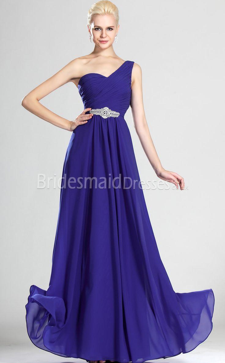 Royal blue chiffon one shoulder bridesmaid dresses with side split - A Line Royal Blue Chiffon One Shoulder Floor Length With Beading Bridesmaid Dresses