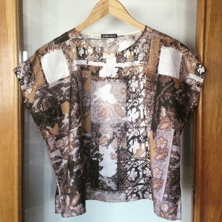 #Heritage goes #digital!     #SandraGalan #Bespoke #design #silk #top neo #folk #floral #digital #print