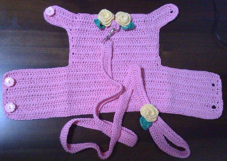 Guia e peitoral em crochê confeccionado em linha 100% algodão.  Escolha a cor q mais combina com seu peludinho. :)  Tamanho P, M e G