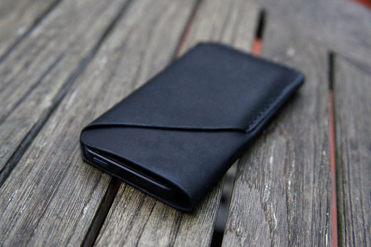 grams28 - iPhone 5 Handmade Black Leather Case iPhone sleeve with card holder iphone 5 wallet  (italian leather). $42.00, via Etsy.