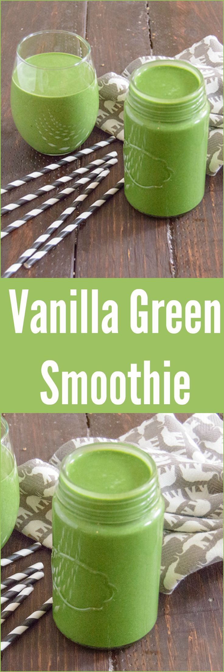 Protein Packed Vanilla Green Smoothie - start your day off with vegetables that you will never taste! This vanilla smoothie is low fat, high protein, vegan and gluten free! Super simple to go breakfast idea!