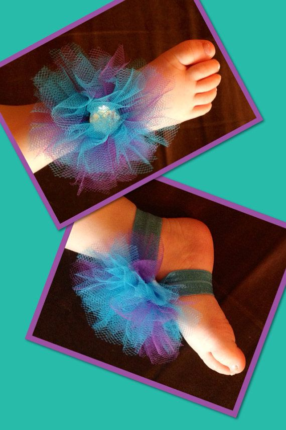 Barefoot baby sandals with matching headband  on Etsy, $12.00
