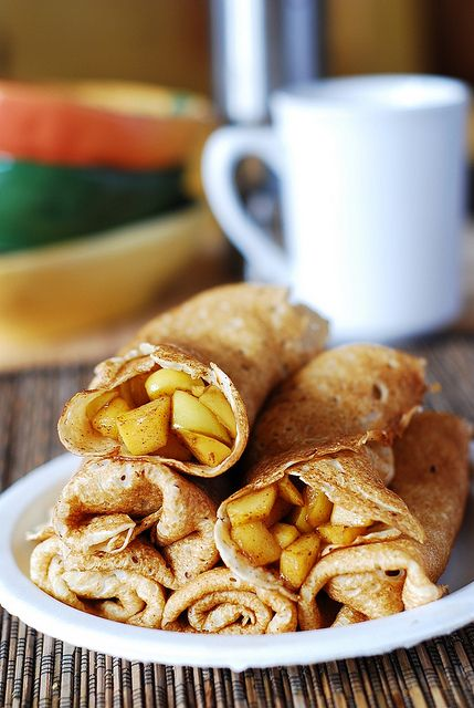 Apple cinnamon crepes  Prep time: 40 min  Cook time: 15 min  Ingredients:  3 large apples, cored and peeled 3 tablespoons brown sugar 1 teaspoon cinnamon Homemade crepes (detailed tutorial with photos here)