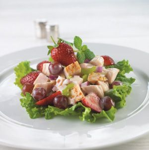 Bring to the spa to mom this Mother's Day. Strawberry Spa Turkey Salad is light - yet very flavorful - and will leave her feeling pampered.