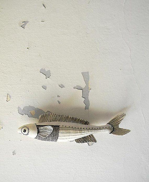 White Fish,Decorative Fish,Textile Ornament,Embroidery Fish,Fish Decor,Black and White Fish,Soft Sculpture