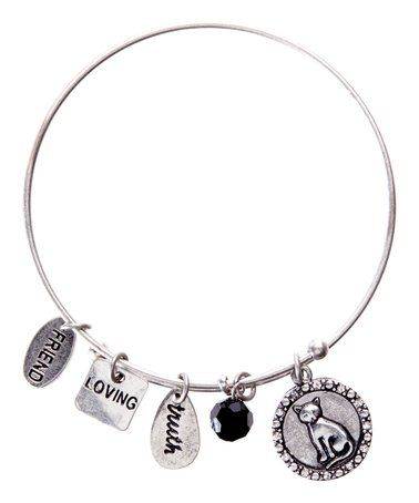 Love this Silvertone & Black Crystal Engraved Cat Bangle on #zulily! #zulilyfinds