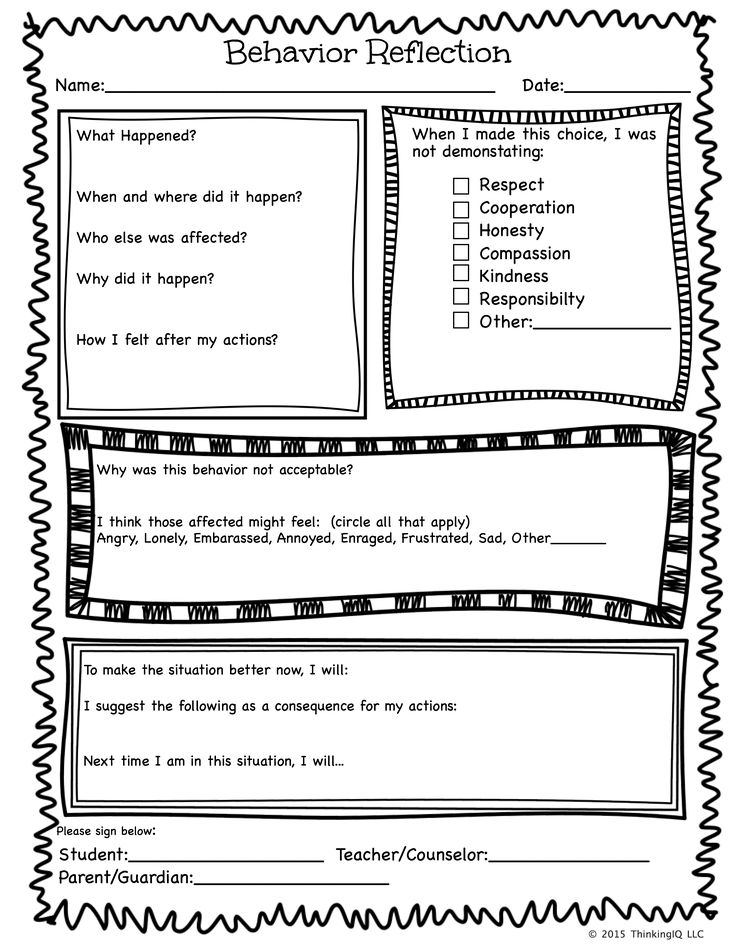 Behavior Reflection Sheet Single page
