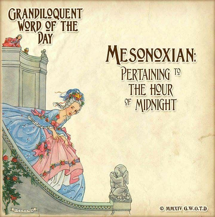 """Mesonoxian (meh-zo-NOX-ee-in) Adjective: -Pertaining to the hour of midnight. Earliest use found in Henry Cockeram (1623–1658), lexicographer. From ancient Greek meso- meaning middle + classical Latin nox night + -ian. Used in a sentence: """"Cinderella's hasty mesonoxian farewell was triggered by the chimes of the clock."""""""