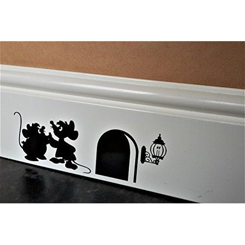 """Funny Mouse Hole Wall Sticker """" Gus And Jaq The Cinderella"""