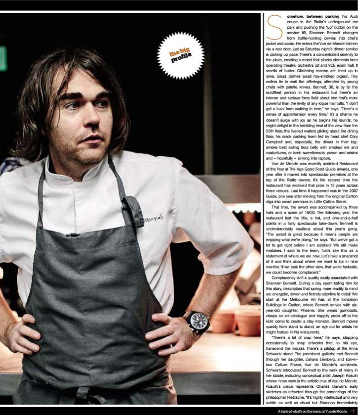 Chef Shannon Bennett profile by Dani Valent for The Age, the (melbourne) magazine 2013