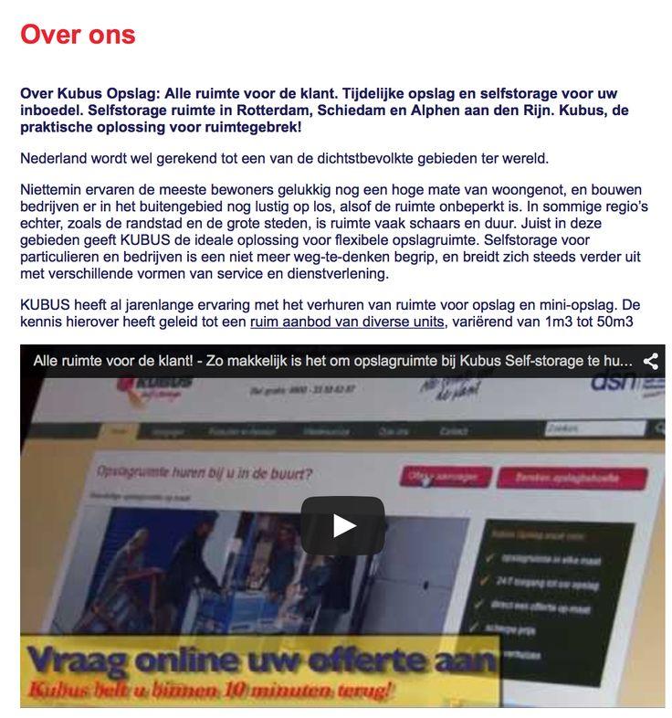 Het eindresultaat staat online! Kijk nu op: http://www.kubus-opslag.nl/over-ons/
