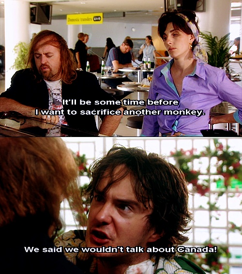 Black Books. Bernard Black, Fran, Manny. It'll be some time before I want to sacrifice another monkey. We said we wouldn't talk about Canada!