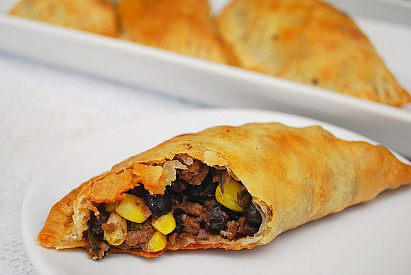 Corn, Black Bean & Beef Empanadas - baked not fried!  Can also use store bought pie crust and make two big ones.